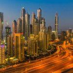 Rascacielos de Dubái noche