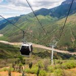 Aerial tram in majestic Chicamocha Canyon in Santander, Colombia